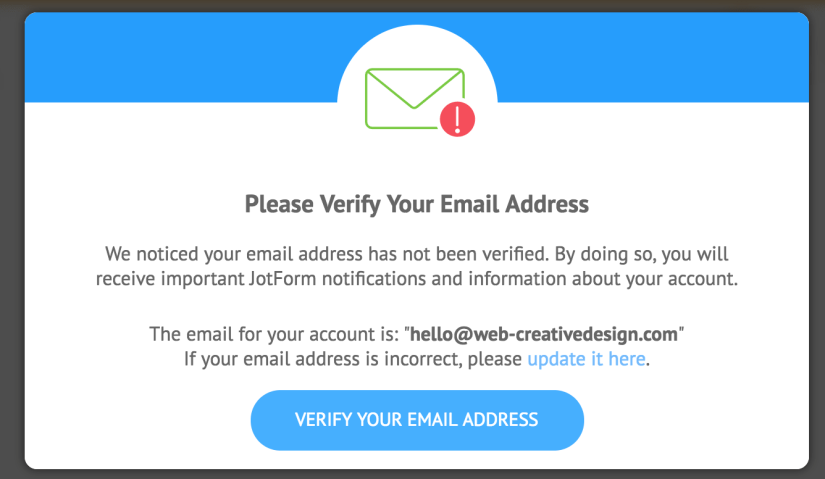 JotForm-verify-email-popup